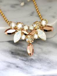swarovski necklace white gold images Bridal rose gold necklace bridal swarovski crystal necklace jpg
