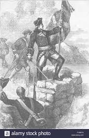 washington planting british flag ft duquesne antique print