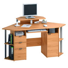 furniture solid wood corner computer desk with double storage in