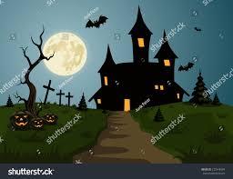 scary halloween background scene castle full stock vector