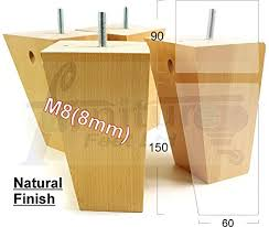 pre turned table legs 4 x wooden feet replacement furniture legs 150mm height for sofas