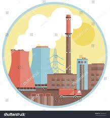 production factory template buildings smoke chimney stock vector