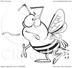 clipart of a black and white cartoon mumbling bumble bee royalty