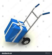 box cart big blue gift box push cart stock illustration 37843819 shutterstock
