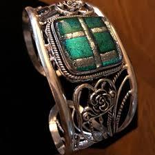 art glass crystal ring holder images Jewelry nwot sterling silver green art glass cuff bracelet jpg