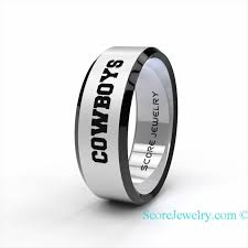 wedding rings dallas tungsten band ring beveled edge mens womens ring nfl football