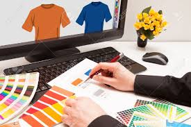 graphic designer at work color samples illustration picture stock