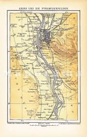 Nile River On Map 1903 Cairo With The Nile And The Giza Plateau In The 19th