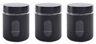 black canisters for kitchen glass storage canisters 3 silver priority chef
