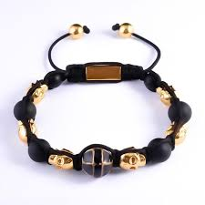 bracelet gold skull images Gold skull stone black bead bracelet skull bracelet angelor jpg