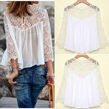 white flowy blouse top white crochet lace 3 4 sleeve flowy chiffon