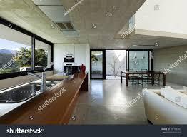 beautiful modern house cement interior open stock photo 101719342