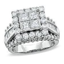 Princess Cut Diamond Wedding Rings by 3 Ct T W Quad Princess Cut Diamond Engagement Ring In 14k White