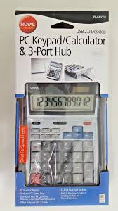 calculator hub royal machines k12 pc 12 digit ezvue display calculator w 3 port hub