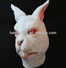 halloween party cosplay creepy cute white rabbit head costume
