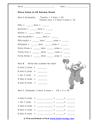 place value sheets place value to 99 review sheet