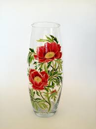 holiday present hand painted vase colorful glass home decor idea