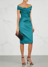 talbot runhof talbot runhof nocky the shoulder taffeta teal dress we