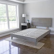 amazon com wood platform bed with headboard solid hardwood