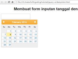 membuat form input menggunakan html form inputan tanggal dengan jquery ui