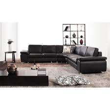 salon canapé noir canapé d angle cuir noir moderne polix achat vente canapé sofa