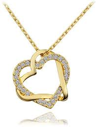 chain necklace heart images Buy fashion18 k gold plated double heart with diamond pendant jpg