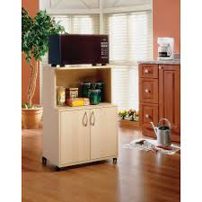 contemporary mobile microwave cart natural maple kitchen