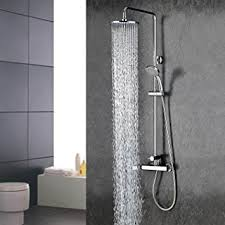 Bathroom Plumbing Fixtures Wall Mount Contemporary Chrome Finish Rainfall Shower Faucet