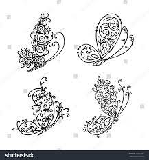 set ornamental butterflies your design stock vector 120257383