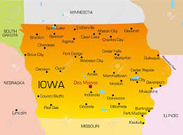 Iowa Illinois Map Vector Color Map Of Iowa State Usa Royalty Free Cliparts Vectors