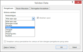 apply data validation to cells excel