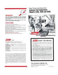 coleman stove 426d user guide manualsonline com