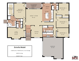 bedroom floor plans one story and single five house