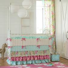 Pink And Aqua Crib Bedding Kumari Garden Crib Bedding Nursery Carousel Designs