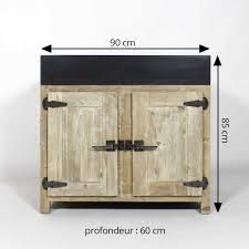 meuble cuisine 90 cm meuble cuisine bois recyclé avec évier 2 bacs made in meubles