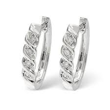 real diamond earrings ag real diamond fancy hoop white earring agse0127 silver
