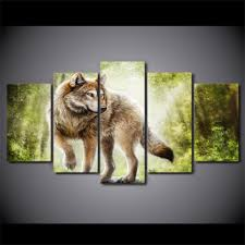 wolf home decor 5 pieces canvas prints animals wolf forest painting wall art home