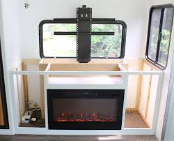 Rv Under Cabinet Tv Mount Installing A Tv Lift And Electric Fireplace In Rv