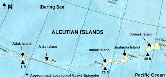 map of aleutian islands 1957 aleutian tsunami