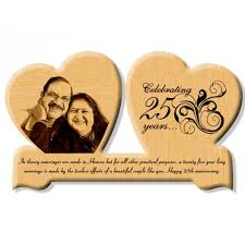 engraved wooden gifts 25th wedding anniversary gift wooden engraved photo in heart