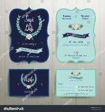 Navy Blue Wedding Invitations Navy Blue Wedding Invitation Card Save Stock Vector 387431326