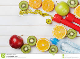 diet plan menu or program tape measure water dumbbells and