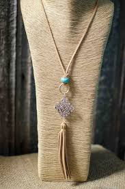 leather necklace turquoise stone images Tan leather tassel turquoise stone necklace hilltop western jpg