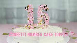 number cake topper diy confetti number cake topper