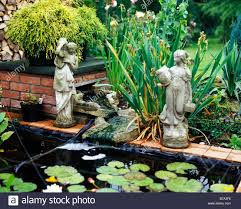 pond ornaments statues stock photo royalty free image