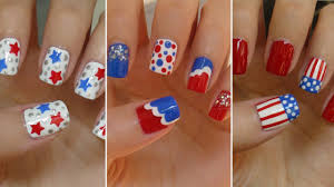fourth of july nails three easy designs youtube