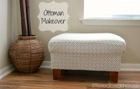 Diy Reupholster Ottoman by Furniture Makeover How To Reupholster An Ottoman Little Red