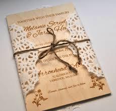 laser engraved wedding invitation on thin wooden board wedding