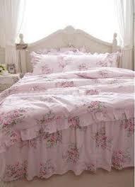 Pink Rose Duvet Cover Set Shabby Beach House Blue Pink Roses Chic Queen Duvet Cover Set