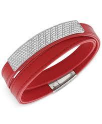 swarovski crystal leather bracelet images Lyst swarovski crystal pav soft leather wrap bracelet in red jpeg